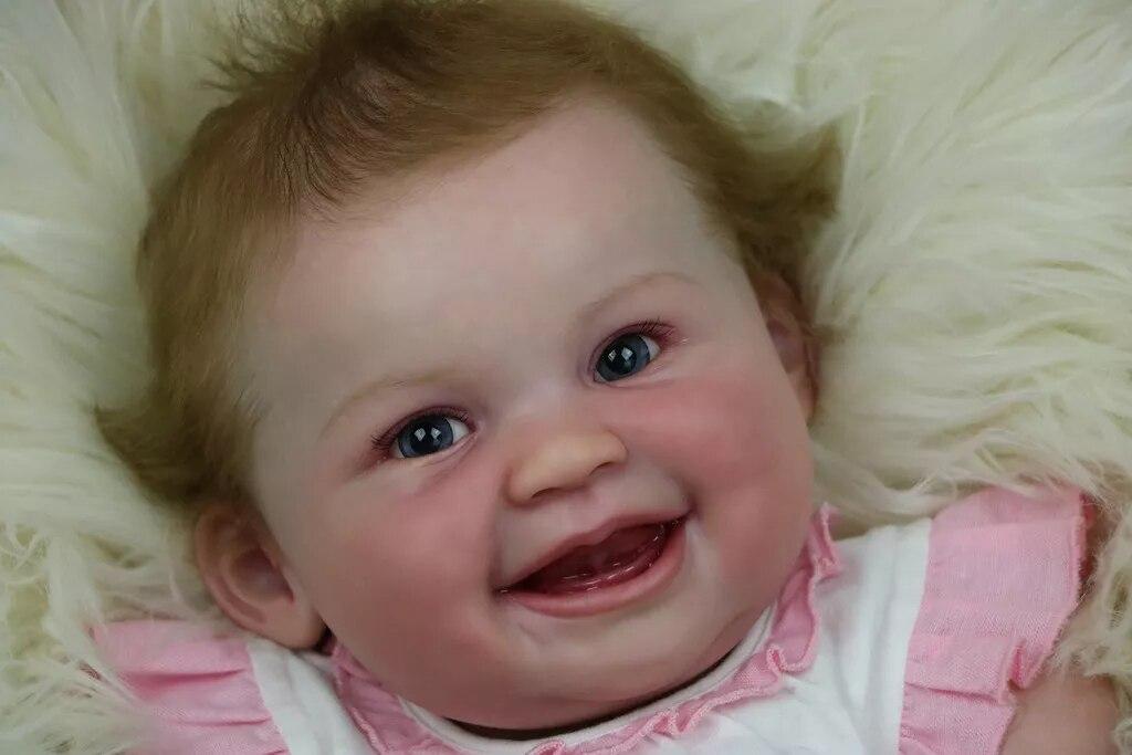 Kit de muñeco realista cara sonriente para muñecas Reborn de vinilo de silicona de 22 pulgadas accesorios de molde paño de gamuza ojos del cuerpo