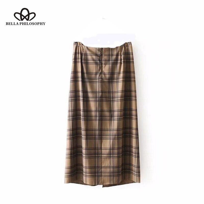Hstar 2020 primavera casual marrom impresso saias femininas bonito xadrez saias de algodão elegante moda senhoras jupe