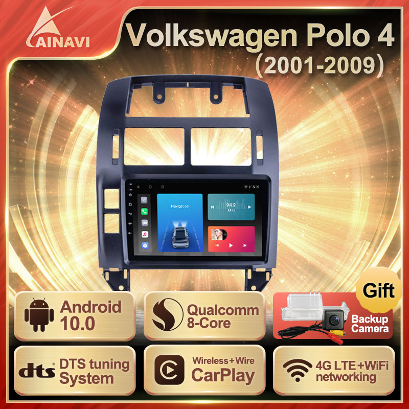 Car Radio Android 10.0 QLED Screen For Volkswagen VW Polo 4 2001-2009 Auto Stereo Multimedia Player Navigation Carplay No 2din
