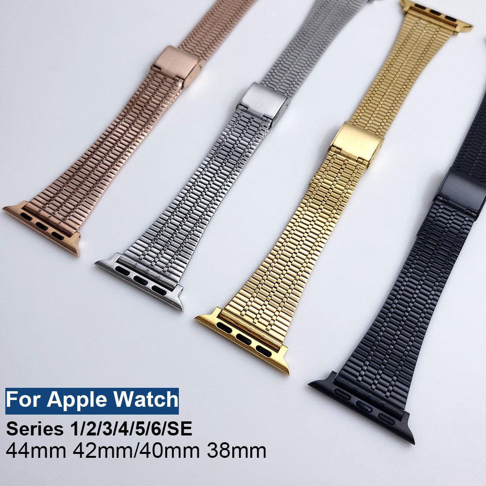 for apple watch band 44mm 40mm 38mm 42mm metal bracelet stainless steel strap for apple watch series se 6 5 4 3 2 1 watchband New Watchband For Apple Watch Band Strap Stainless Steel Metal Bracelet For iWatch Series 1 2 3 4 5 6 SE 44mm 42mm 40mm 38mm