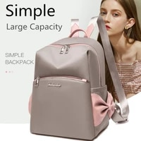 bow designer backpack for women simple oxford cloth shoulder bags double zipper lady rucksack large capacity college bookbag sac
