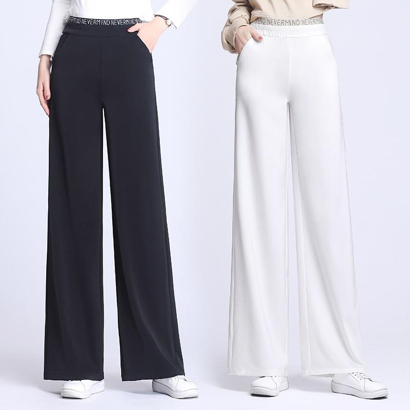 Women Wide Leg Pants Sports Elastic Waist Sweatpants Straight Pants for Female Summer Casual Trousers Large Size M 9XL