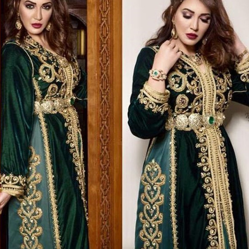 Moroccan Caftan Dresses Embroidery Appliques Long Evening Dresses Crystal Beading Arabic Muslim Party Gowns свадебное платье
