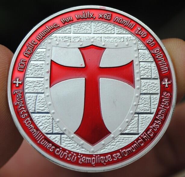 Rojo Cruz chapada en plata Caballero Jerusalén moneda conmemorativa de placa de doble cara