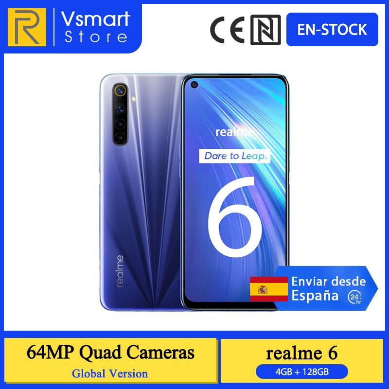 Global Version Realme 6 Smartphone 4GB 128GB 6.5 inch 90Hz Display 64MP Quad Rear Cameras Helio G90T 4300mAh 30W Charge Phone