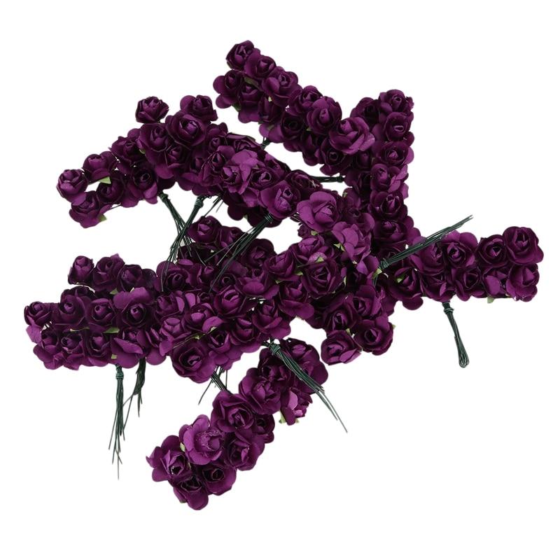 144 Uds Mini Petite papel Artificial Rosa capullos flores DIY decoración para bodas artesanal hogar