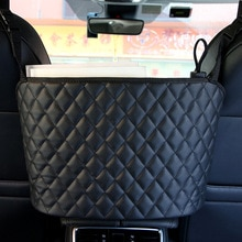 Car Storage Bag Luxury Leather Rear Seat Back Organizer Auto Mesh Large Capacity Handbag Holder Mult