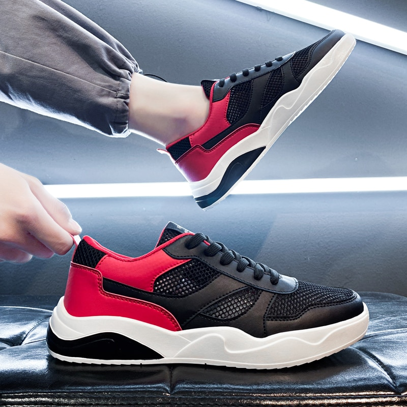 CRLAYDK 2021 New Leather Men's Walking Sneakers Casual Breathable Outdoor Running Tennis for Boys Sports Fitness Students Shoes