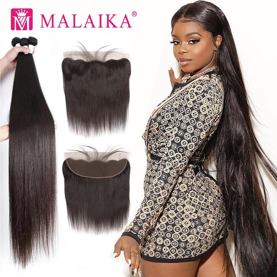 Malaika 30 32 34 40 Inch Straight Malaysian Hair Weave Bundles With Frontal Human Hair Bundles With