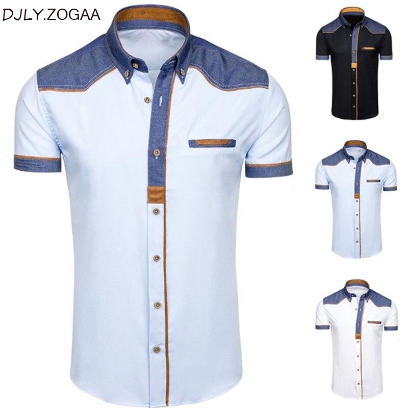 ZOGAA camisas de hombre de moda de mezclilla de manga corta camisas formales hombre Casual ropa de verano Tops de algodón delgado más tamaño Masculino camisas