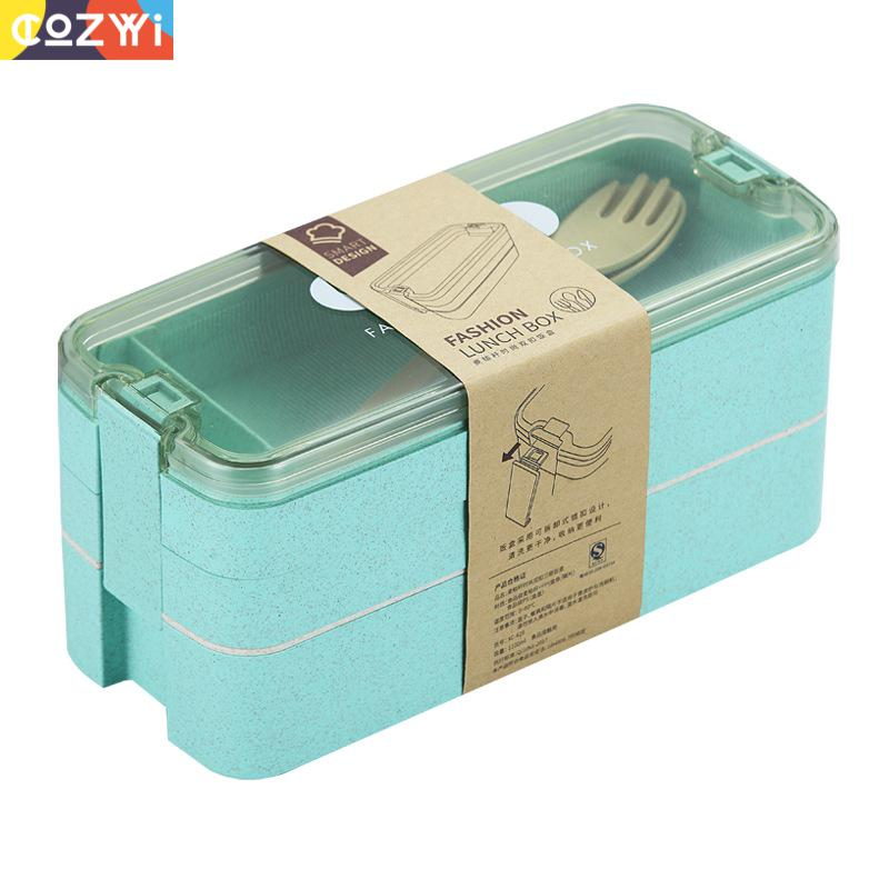 Caja Bento de tallo de trigo de Triple capa, fiambrera portátil con asa oculta, fiambrera