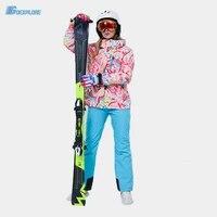 snowboard suit women 30 snow wear clothing sets waterproof windproof winter costume ski jacket strap snow pant girls