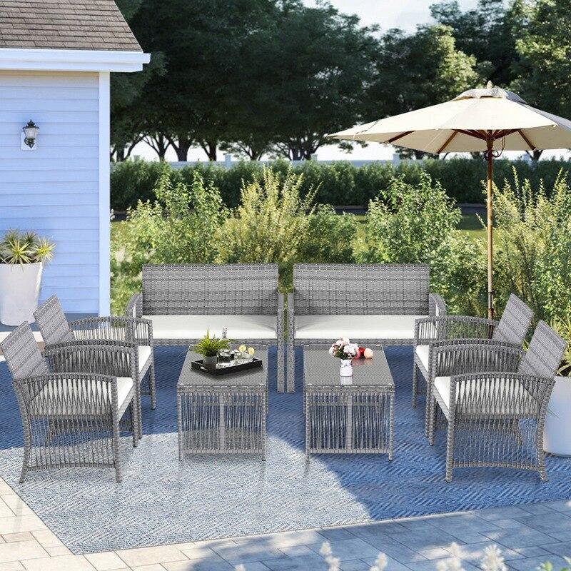 أثاث خارجي كرسي من الخيزران والطاولة طقم للفناء في الهواء الطلق أريكة للحديقة ، الفناء الخلفي ، الشرفة ، رمادي