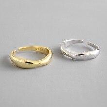 100% 925เงินสเตอร์ลิงเปิดแหวนผู้หญิง INS Minimalist รูปแบบคลื่นที่ไม่สม่ำเสมอทองเครื่องประดับ Bijoux วันเกิ...