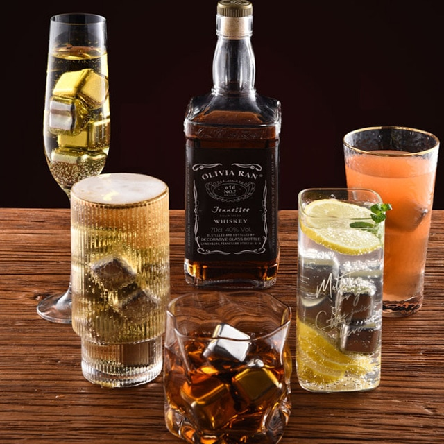 New Whisky Stones Ice Cubes Set Reusable Food Grade Stainless Steel Wine Cooling Cube Chilling Rock Party Bar Tool 8