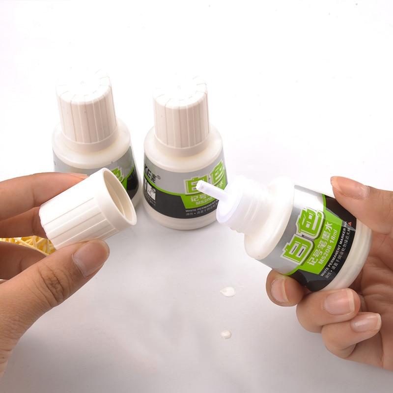 18ml Weiß Permanent Marker Tinte Schnell Trocknend Ölige Tinte für Nachfüllbare Tafel/Greenboard Marker Stifte Tinte Liefert