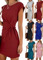 2021 temperament beauty must have round neck short sleeved dress with short sleeves in stock girlfriends outfit
