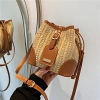 fashion western style straw woven bag 2021 new female bag simple and casual korean single shoulder messenger mini bucket bag