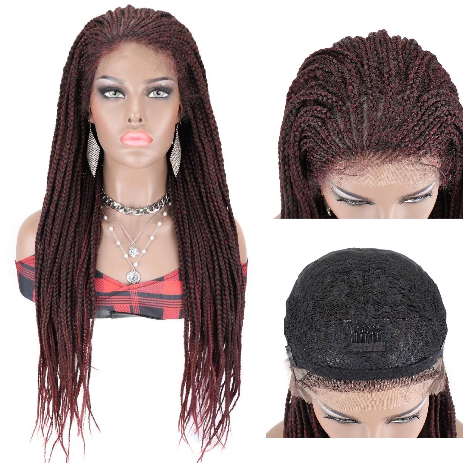 Braided Wig Braiding Hair Lace Front Lace Synthetic Wig TOOCCI Braided Wigs 30 Inch Crochet Long Lace Wigs For African Women