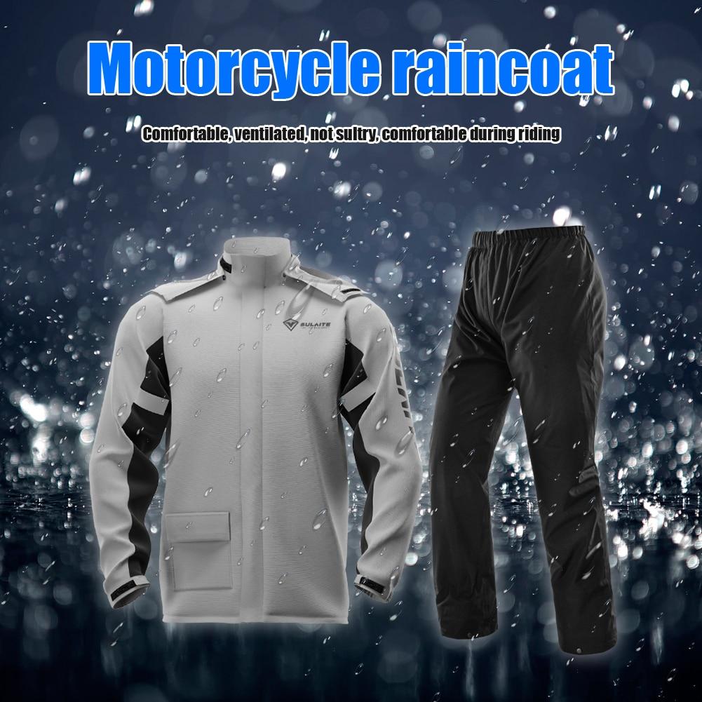 Sulaite رجل عاكس دراجة نارية سترة مطر جاكت للمطر مقاوم للماء + السراويل مع أغطية الحذاء رمادي/greem