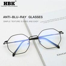HBK Vintage Anti Blue Light Hexagon Glasses Frame Women Men Computer Reading Eyeglasses Unisex Blue Ray Eyewear Light Spectacles