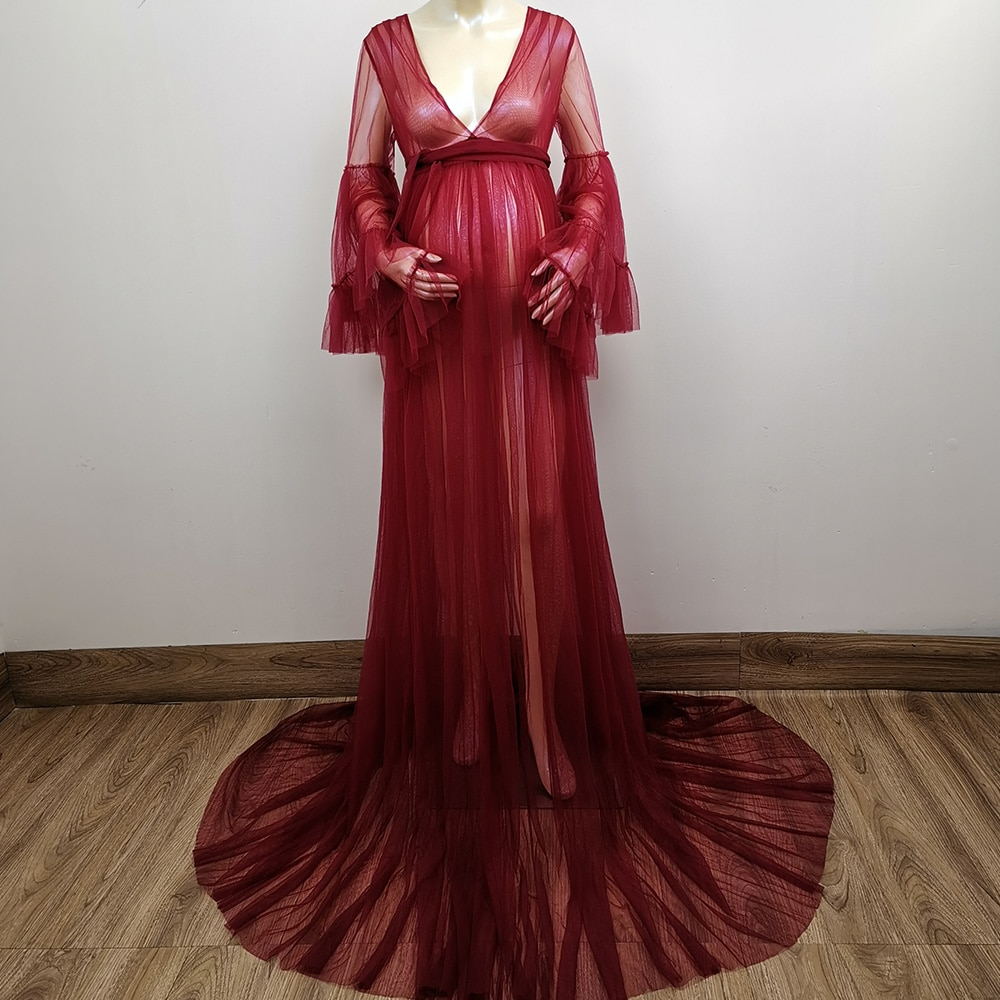 Don&Judy Tulle Long Sleeves Maternity Evening Dress Party Gowns Robe Formal Prom Dresses Gown Photograph Photo Shoot 2020 enlarge