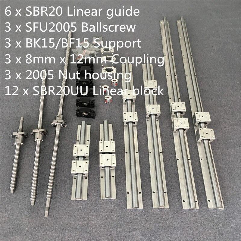 SBR 20 الخطي دليل السكك الحديدية 6 مجموعة SBR 20 - 300/700/1100 مللي متر + Ballscrew مجموعة RM2005 SFU2005 - 350/750/1150 مللي متر + BK/BF15 CNC أجزاء