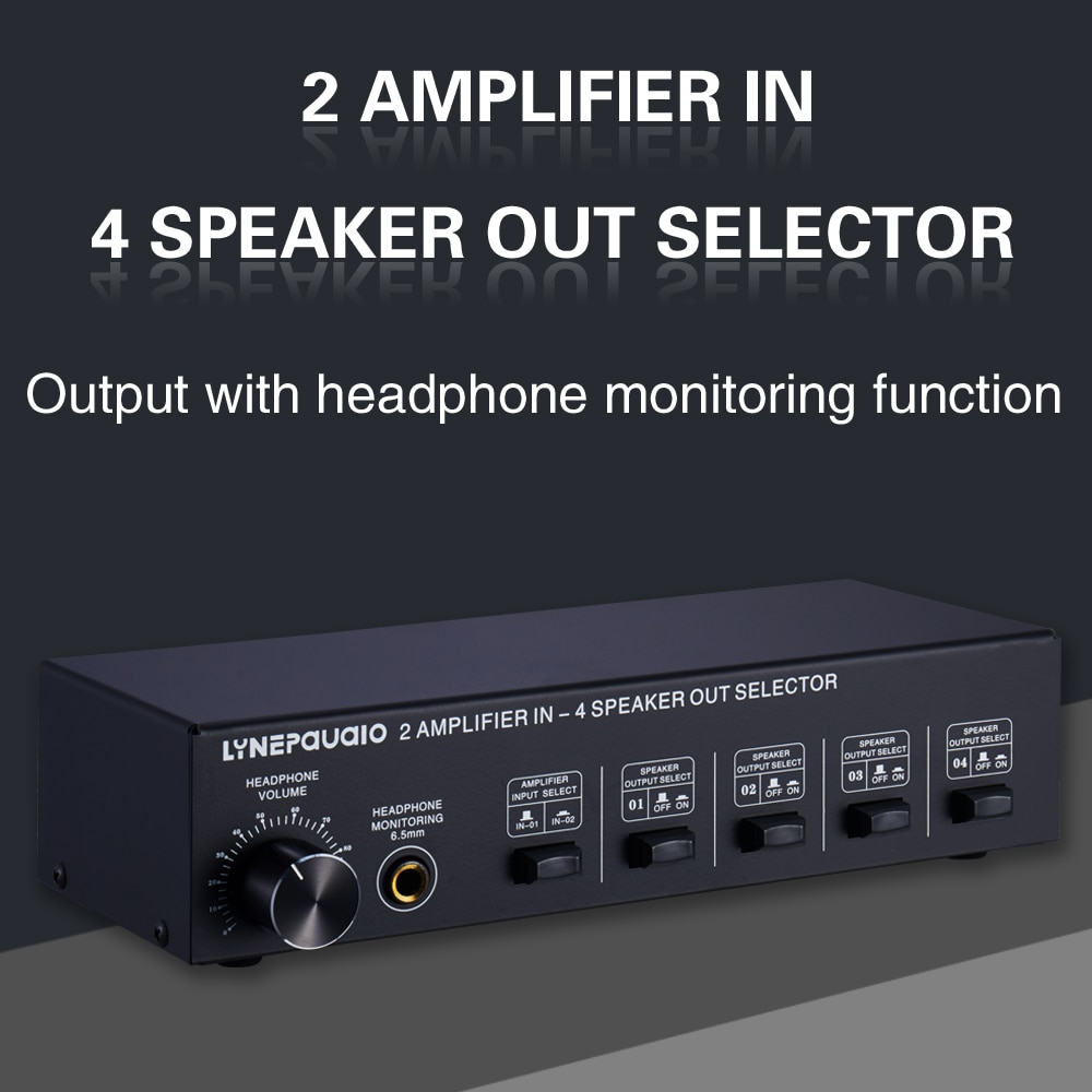KYYSLB B032 2 In 4 Out amplificador pasivo y conmutador de Audio interruptor de altavoz separador de auriculares salida calidad de sonido sin pérdidas