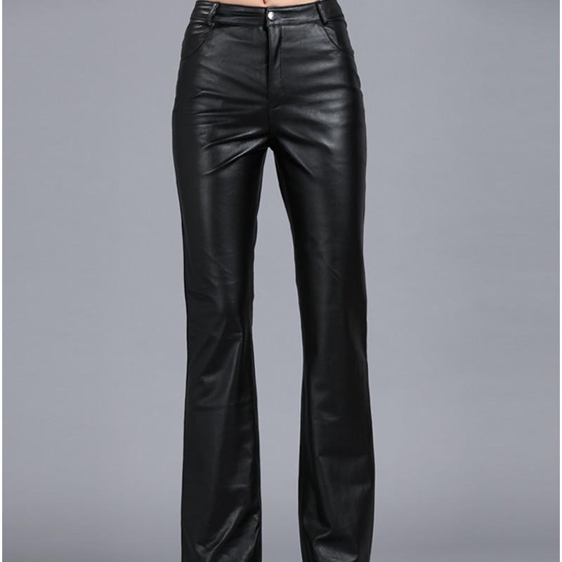 Genuine Leather Pants Autumn Sheepskin Pants Mid Waist Casual Pants 2020 Womens Soft Leather Pants Women Flare Trousers