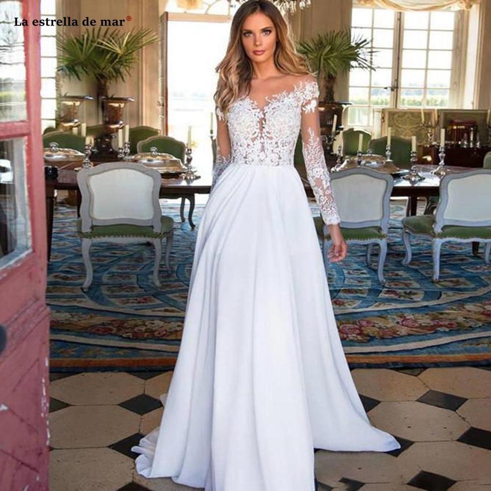 Vestido de playa Bohemia boda, manga larga, apliques de tul, gasa, línea...