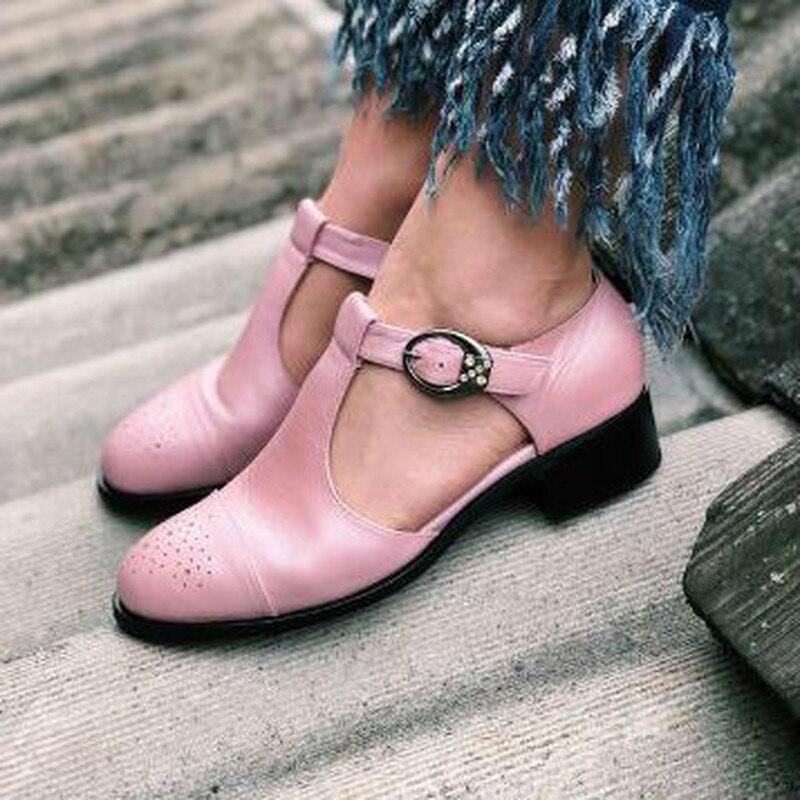 Botas con tacones bajos de talla grande de verano para mujer, sandalias de piel sintética con punta redonda y hebilla para mujer D514