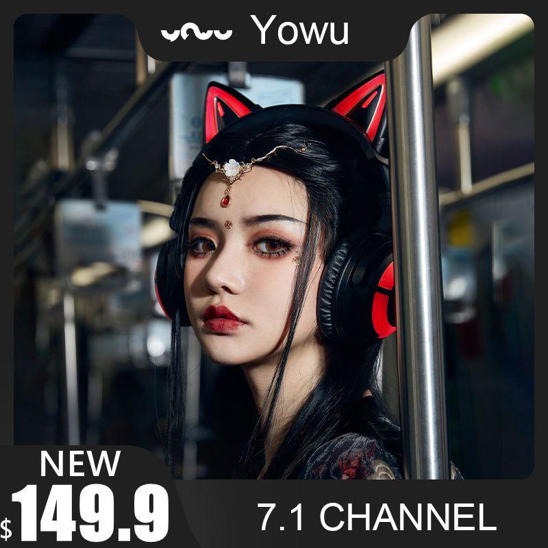 Yowu-auriculares con diseño de gato y luces RGB para chica, audífonos inalámbricos...