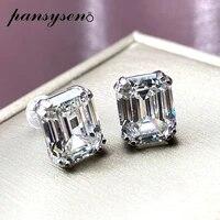 pansysen sparking 925 sterling silver 6ct asscher cut lab diamond 5a zircon gemstone stud earrings for women girls birthday gift