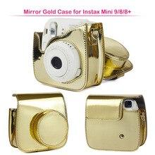 Estojo para fujifilm instax mini 9/8 câmera de filme instantâneo, saco de proteção de couro do plutônio com alça de ombro, caso de qualidade de moda