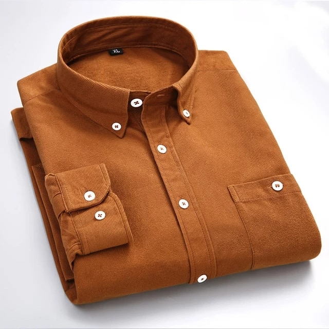 قميص رجالي غير رسمي ، قطن خالص لون سادة بأكمام طويلة ، شيك الوقوف طوق ، أنيق وسيم