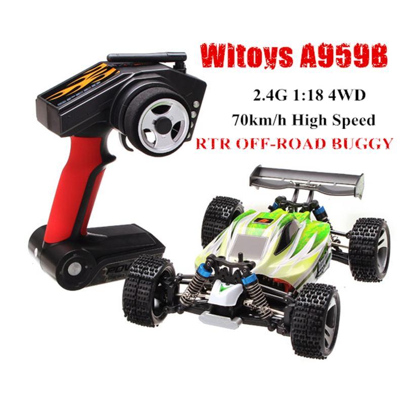 Wltoys A959-B coche de radiocontrol 118 4WD coche de Control remoto todoterreno Crawler de alta velocidad 70 km/h vehículo juguetes para niños