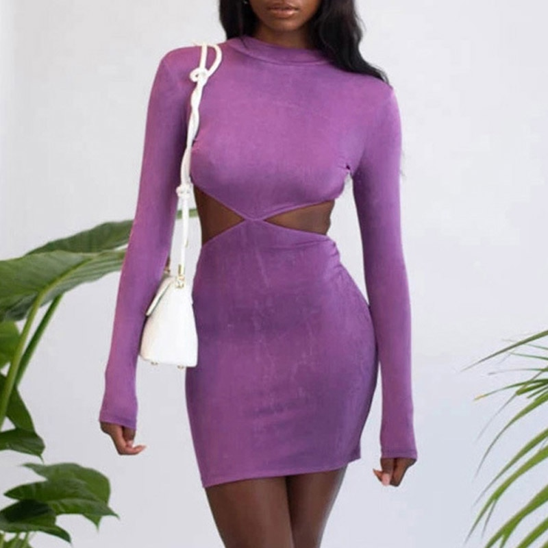 Long Sleeve Backless Sexy Dress Women Mock Neck Hollow Out Bodycon Dress Elegant Tight Short Party Dress Purple Blue wannathis long sleeve turtleneck autumn party dress women hollow out bodycon elegant sexy knitted mid dresses women cotton white
