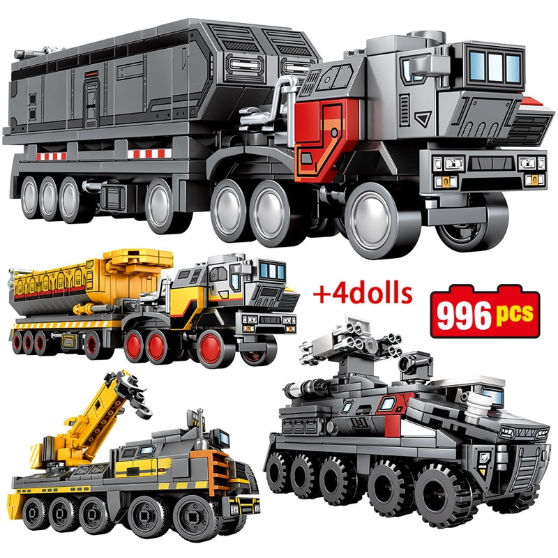 Bloques de construcción de automóviles de la ciudad que vagan por la tierra, vehículo técnico militar, camión de transporte de carga, figuras de ladrillos, juguetes para niños