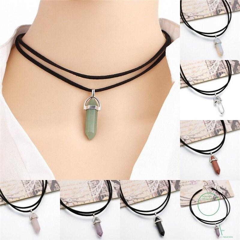 aliexpress.com - Natural Crystal Chakra Pendulum Pendant Necklaces For Women Teens Girls Hexagonal Stone Leather Choker Chain Statement Necklace
