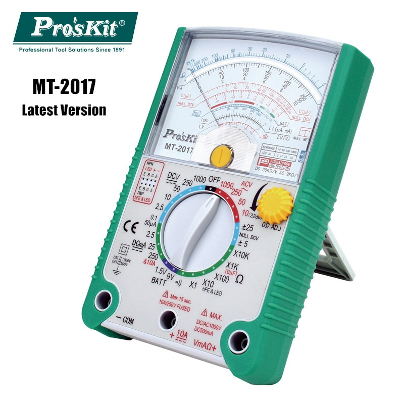 Original Pro'sKit MT-2017 Safety Standard Protective Function Analog Multimeter Ohm Test Meter DC AC Voltage Current qq2 0 compact analog multimeter ac dc voltage current mini multimeter use for home and student applicable