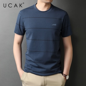 UCAK Brand Classic O-Neck Striped Short Sleeve T-Shirts Summer New Fashion Streetwear Casual Pure Cotton T Shirt Homme U5556