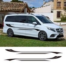 2 PCS Auto Vinyl Side Stripes Aufkleber Auto Grafiken Decals Für Volkswagen T5 T6 Ford Transit Peugeot Partner