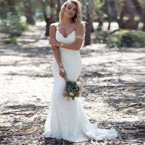 Sexy Bohemia Lace Mermaid Wedding Dresses Slim Backless Spring Custom Made Bridal Gowns Formal Long Bride Wedding Wear Plus Size