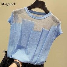 O-collo coreano manica corta maglia top Patchwork seta di ghiaccio Blusas donna Pullover Moda camicetta sottile Mujer De Moda 2021 8796