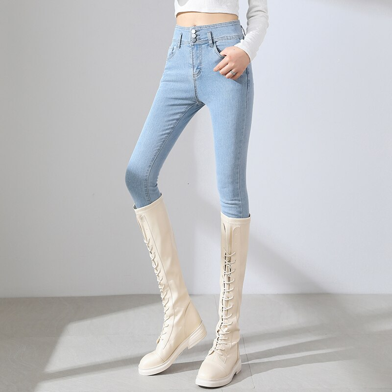 New High Waisted Stretch Jeans For Women Fashion Casual Light Blue College Girls Pencil Jeans Cotton Slimming Denim Trousers