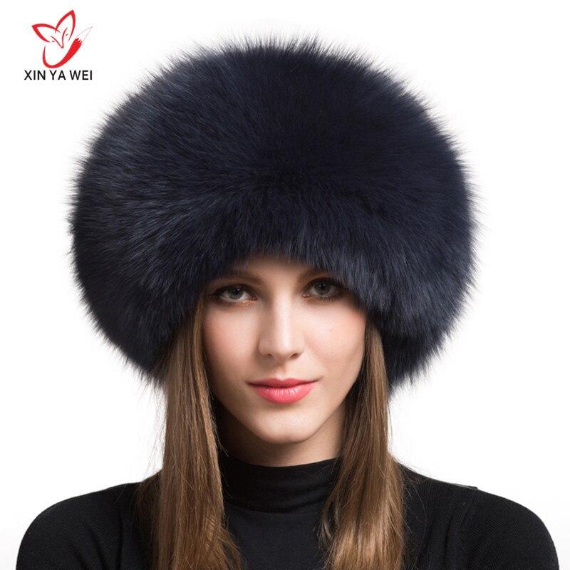 2019 grande oferta 100% chapéu de pele de raposa natural inverno quente chapéu de pele grossa chapéu de moda feminina para chapéu feminino com earmuffs hat.