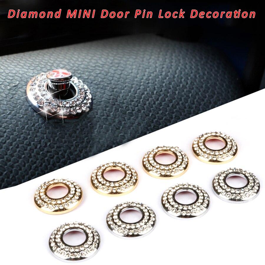 2 uds cerradura de puerta Pin diamante anillo Decoración Para Mini Cooper S una JCW compatriota R53 R55 R56 R57 R58 R59 R60 R61 F56 F57 F60