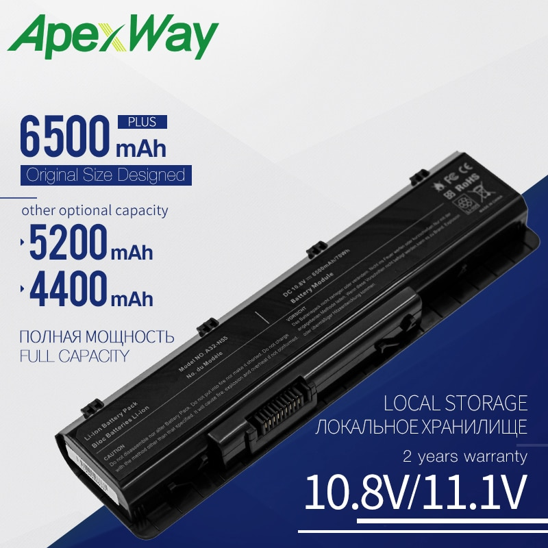 ApexWay 6500mAh nuevo batería de portátil para ASUS A32-N55 N45 N45E N45S N45SF N55 N55E N55S N55SF N75E N75S N75SF N75SJ N75SL 6 celdas