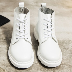 Genuine Leather Boots Women White Ankle Boots Motorcycle Boots Female Autumn Winter Shoes Woman Punk Botas Mujer 2021 Spring