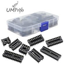 66 pièces/lot DIP IC prises adaptateur Type de soudure prise Kit 6,8, 14,16, 18,20, 24,28 broche pour arduino PCB Kit de bricolage